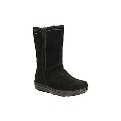 Clarks - Black suede 'nelia net gtx' mid calf warmlined boot