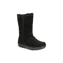 Clarks - Black suede 'nelia net gtx' mid calf warmlined boot