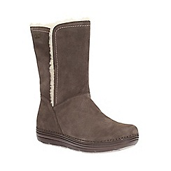 Clarks - Taupe suede 'nelia net gtx' mid calf warmlined boot