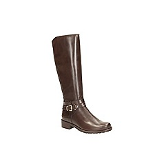 Clarks - Dark brown leather 'nessa abbey' mid calf riding boot