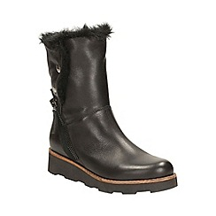 Clarks - Black leather 'okemo sienna' mid calf boot