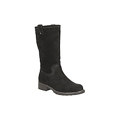 Clarks - Black suede 'orinoco river' mid calf zip up boot