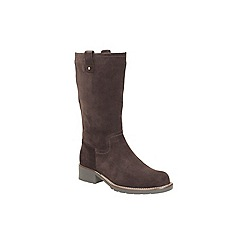 Clarks - Dark brown suede 'orinoco river' mid calf zip up boot