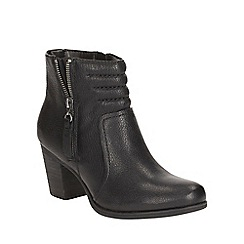 Clarks - Black leather 'palma trina' biker zip fastening ankle boot