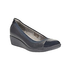 Clarks - Navy leather petula sadie wedge court shoe