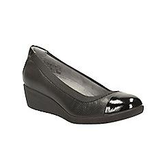 Clarks - Black leather petula sadie wedge court shoe