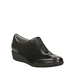 Clarks - Black suede petula viola wedge slip on shoe