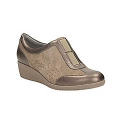 Clarks - Taupe suede petula viola wedge slip on shoe
