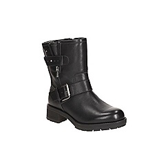 Clarks - Black leather 'reunite go gtx' buckle fastening biker ankle boot