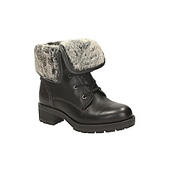 Clarks - Black combi 'reunite up gtx' lace up ankle boot with fur trim