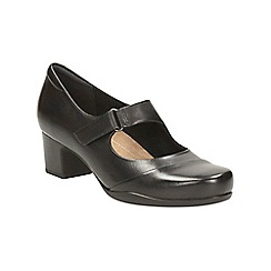 Clarks - Black leather rosalyn wren heeled bar shoe