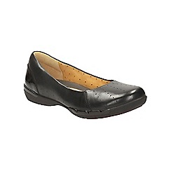 Clarks - Black leather un hearth slip on pump