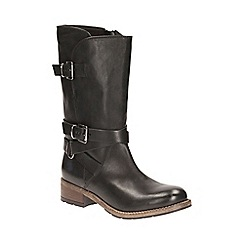Clarks - Black leather 'Volara Melody' mid block heel calf boots