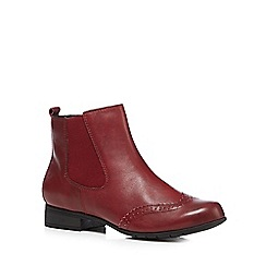 Hotter - Maroon 'Shawbury' leather ankle boots