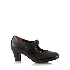 Hotter - Black 'Claudette' leather mid heeled court shoes