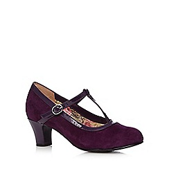 Hotter - Purple 'Michelle' suede T-bar strap mid court shoes