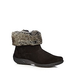 Hotter - Black faux fur ankle boots