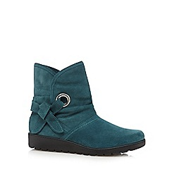 Hotter - Turquoise 'Liberty' suede mid heeled ankle boots