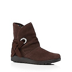 Hotter - Dark brown 'Liberty' suede mid heeled ankle boots