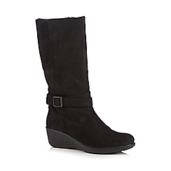 Hotter - Black leather wedge heeled boots