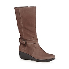 Hotter - Taupe leather wedge heeled boots