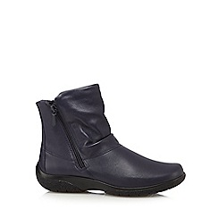 Hotter - Navy 'Whisper' leather ankle boots