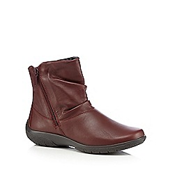 Hotter - Dark red 'Whisper' leather ankle boots