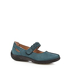 Hotter - Dark turquoise leather plaited strap pumps