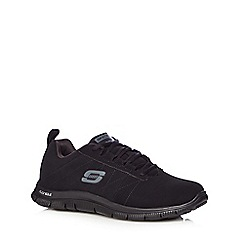 Skechers - Black 'Fles Appeal' leather mix slip on shoes