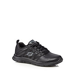 Skechers - Black 'Flex Flex Appeal' leather blend trainers