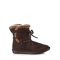 Skechers - Dark brown 'Shelbys' suede mix boots