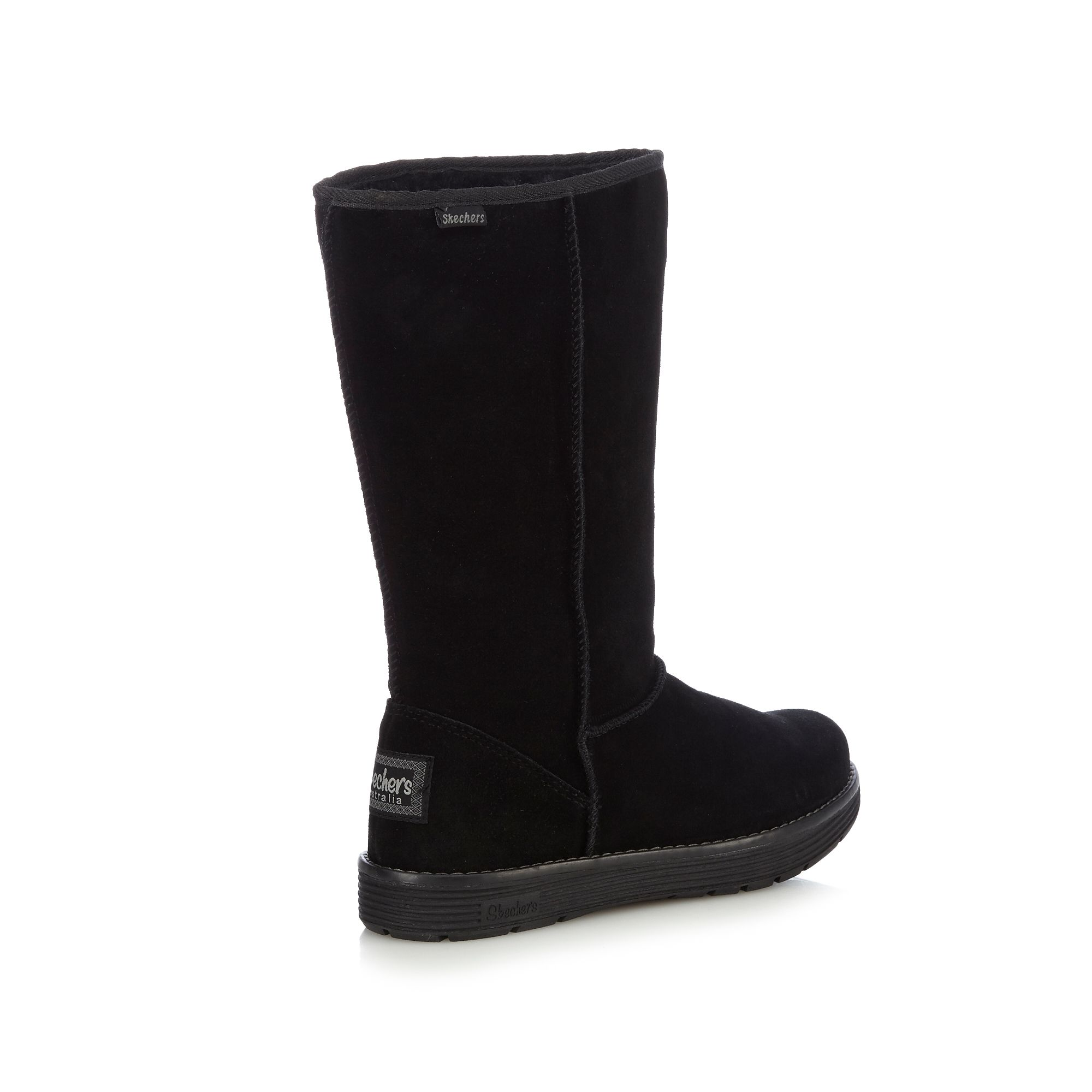 skechers womens black adorbs suede buckle boots from