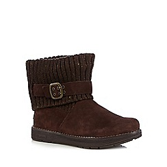 Skechers - Dark brown 'Adorbs' suede buckle ankle boots