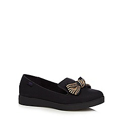 Rocket Dog - Black textured beaded bow loafers