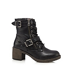 Rocket Dog - Black buckle mid heeled ankle boots