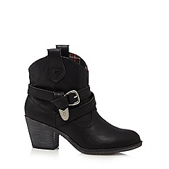Rocket Dog - Black cowboy mid heeled ankle boots