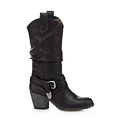 Rocket Dog - Black buckle mid heeled cowboy boots