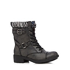 Rocket Dog - Black leatherette calf length low boots