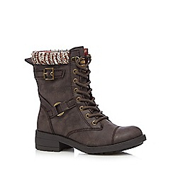 Rocket Dog - Brown leatherette calf length low boots