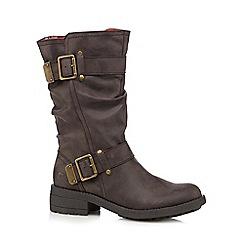 Rocket Dog - Brown buckle calf length boots