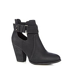 Call It Spring - Black 'Bugbee' suedette cut-out ankle boots