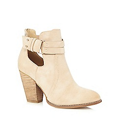 Call It Spring - Cream 'Bugbee' suedette cut-out ankle boots