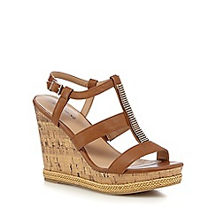 Call It Spring - Tan 'Terreti' high wedge sandals