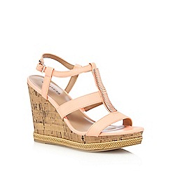 Call It Spring - Coral 'Terreti' high wedge sandals