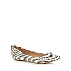 Call It Spring - White 'Brevia' striped snakeskin textured rear zip flat shoes