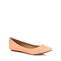 Call It Spring - Orange 'Brevia' snake skin textured rear zip flat shoes