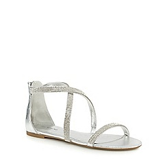 Call It Spring - Silver 'Touraz' diamante flat sandals