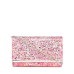 Call It Spring - Pink 'Stites' floral print jewel embellished clutch bag