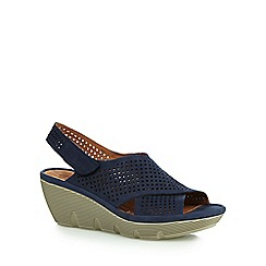 Clarks - Navy 'Clarene Award' mid wedge sandals