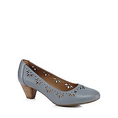 Clarks - Grey 'Denny Dazzle' leather cut-out wide fit mid heel courts